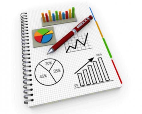 تصویری تزیینی نمایشگر یک گزارش پیشرفت پروژه به همراه نمودارها و تحلیل ها.